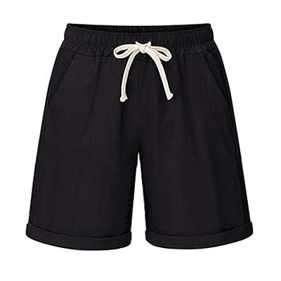 CHARTOU Women's Summer Casual Drawstring Waisted Linen Clothing Shorts | Amazon.com