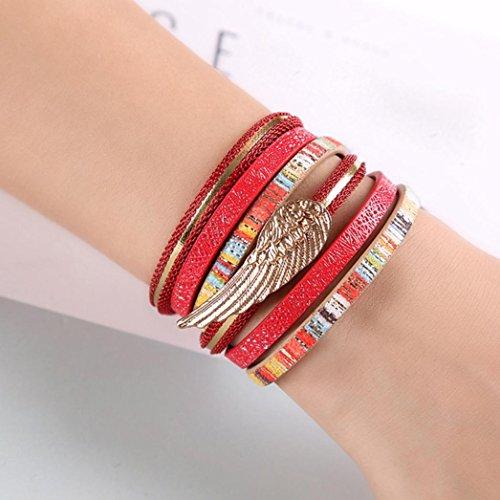 Sunward Triple Strand Leather angel's wings Bracelet with Bali Beads (A) (Bali Weave Bracelet)