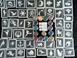 Giant Fund raising stencil glitter tattoo set / body art + 15 glitter colors inc FROZEN