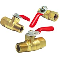 JIUWU Brass Pneumatic Ball Valve 1//4 PT to 8mm Hose ID Barb w//Lever Handle Pack of 5