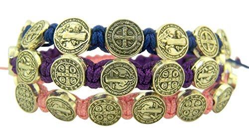 - Catholic Brands Saint Benedict Evil Protection Medal on Adjustable Cord Bracelet, Set of 3, 8 Inch (One Set (Blue, Pink, Purple))