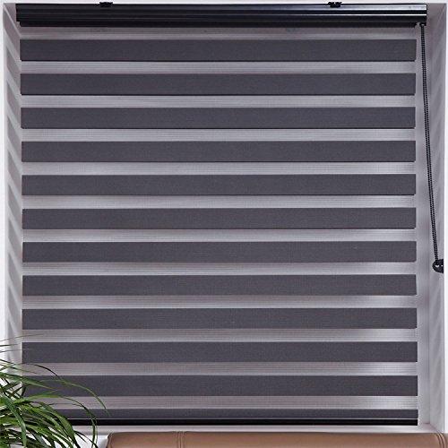 "UPC 855269000823, Upscale Designs 20208 Dark Gray - Zebra Sheer Striped Roller Blind / Shade, 24"" x 78"""