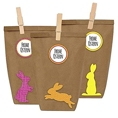 12 Diy Geschenktüten Zu Ostern Zum Selber Basteln Und Befüllen Do It Yourself Osternest Mit 12 Papiertüten Und Osterhasen Aufklebern Design 16