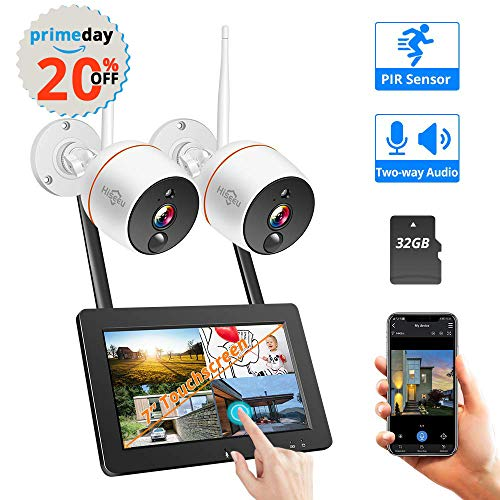 【2019 Update】 Wireless Security Camera System with Monitor,Hiseeu 4CH 7inch Touch Screen NVR 2Pcs 1080P Two-Way Audio IP Camera, PIR Motion Detection,Weatherproof Indoor/Outdoor 32GB SD Preinstalled ()