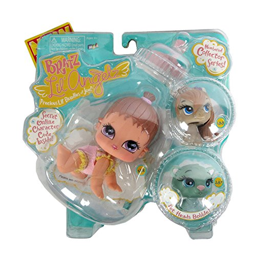 MGA Entertainment Bratz Lil Angelz Series 4 Inch Doll with 2 Pets Set - BREEANA (#182), Brown Pony (#188) and Blue Ferret (#287)