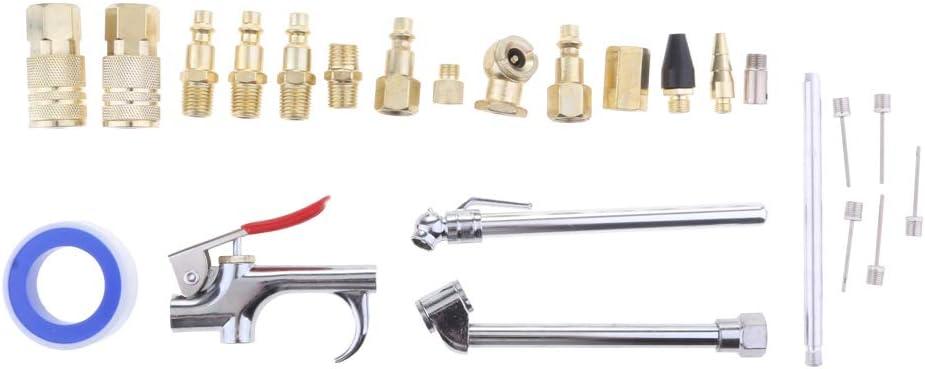 Homyl Set de Pneumatique Attache Rapide Industrielle Kit Compresseur Pneumatique Souflette /à Air avec Buse de S/écurit/é