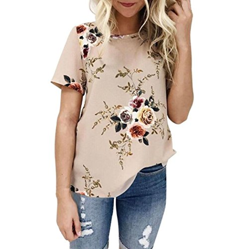 Shabby Chic Clothing - Ladies Sexy Tops Casual Floral Printing T-Shirt Short Sleeve Blouse by Topunder (Khaki, XX-Large)