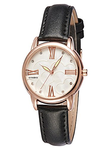 Black Jeweled Ladys Watch - Cheamlion Womens Teens Girls Black Bling Synthetic Jeweled Leather Watch