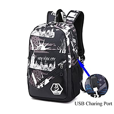 well-wreapped Business Laptop Backpack, Waterproof Travel Backpack with USB Charging Port for College Student, Adult, Fashion Shoulder Backpack suit for traveller and walker from E-Achir (Black + White)