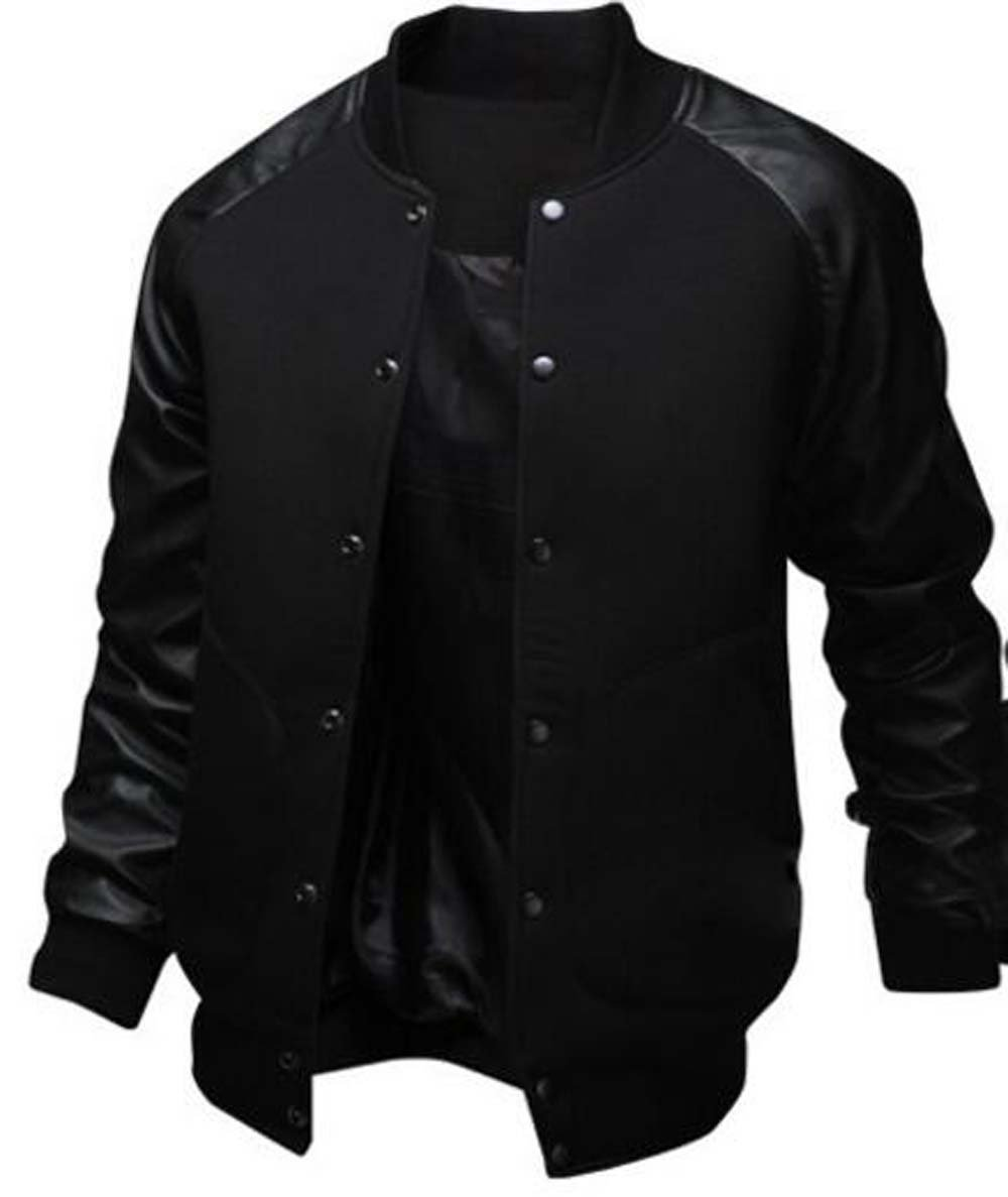 Naughtyman Men's Fashion Splicing Leather Sleeve Baseball Varsity Bomber Jacket (X-Large, Black) by Naughtyman