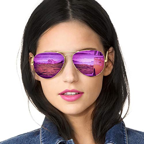 SODQW Aviator Sunglasses for Women Polarized Mirrored, Large Metal Frame Sun Glasses, UV 400 Protection Classic Style (Gold Frame/Violet Purple ()