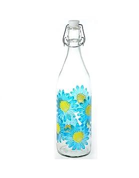 Home Line Botella de Cristal 1L. Flores 3 Colores - Azul