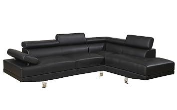bhd laura canap dangle fixe moderne 4 places simili couleur noir - Canape D Angle Fixe