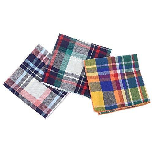 Kloud City Pack of 3 Men's Cotton Pocket Square Plaid Tartan Lattice Handkerchief for Suits Wedding Party Costume Accessories (Party City Party Suit)