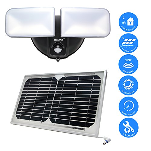 eLEDing Solar Powered Microgrid Dual Head LED SMART Lighting 1200lm Dusk to Dawn Capability, for Backyard, Garden, Pathway, Walkway, Security Safety, CCTV illuminating, Flood Spot, Parking Garage by eLEDing
