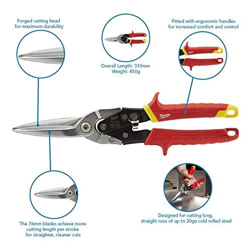Rosso Colore Milwaukee 48-22-4537 48224537-Cesoie da Aviazione Extra Lunghe con Taglio Dritto Red