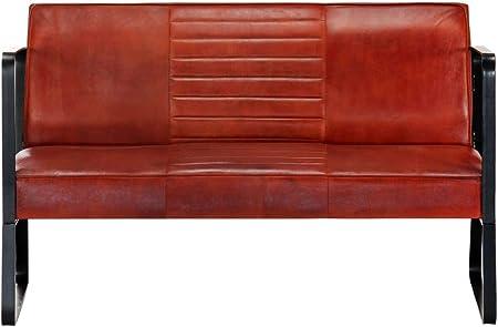 vidaXL Sofá de 2 plazas, Vintage, de Piel, tapizado, sofá, sofá, salón, Muebles, Muebles de Oficina, marrón, Piel auténtica, Marco de Hierro