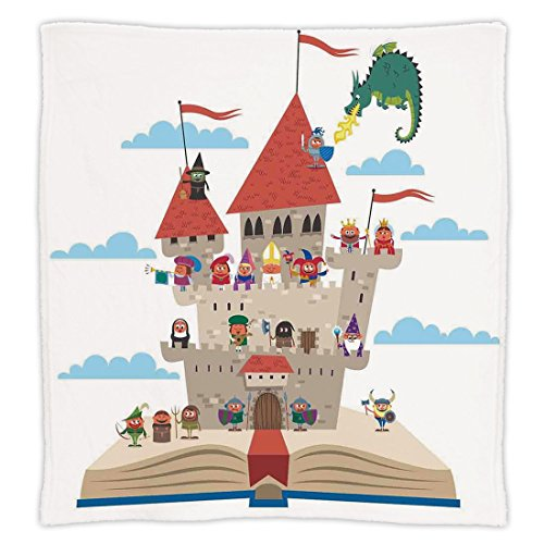 Super Soft Throw Blanket Custom Design Cozy Fleece Blanket,Kids,Fairy Tale Story Book Castle King Queen Princess Dragon Witch Knight Wizard Vikings Theme Print,Perfect for Couch Sofa or - Theme Tale Book Guest Fairy