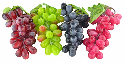 JEDFORE 4 Bunches of Artificial Black,Red, Green and Purple Grapes Fake Fruit Home House Kitchen Party Wedding Decoration Photography - 4 Colors ()