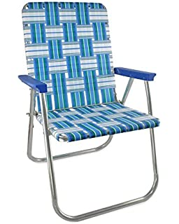 Lawn Chair USA Webbing Chair (Deluxe, Sea Island With Blue Arms)