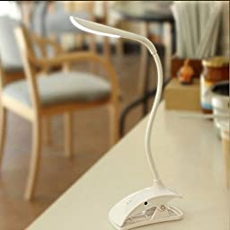 IYOOVI Flexible Desk LED Lamp Clip on Reading Lamp Cordless Touch Sensitive Bedside Light USB Rechargeable with 3 Level Brightness White
