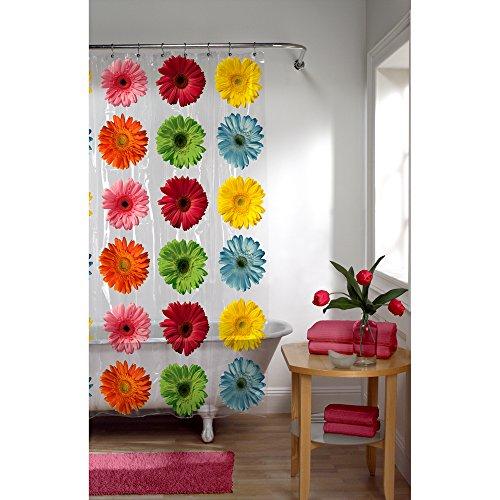 515llJcKWHL - Maytex Photoreal Gerber Daisy Waterproof PEVA Shower Curtain
