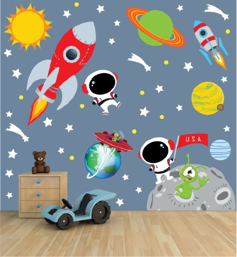 Space Wall Decal with Astronaut, rocket, and moon for Baby Nursery or Boy's Room by Nursery Decals and More