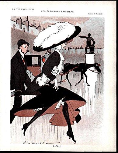 Horse 1908 (Parisian Elements fancy hat Horse Beauty 1908 beautiful antique French art print)