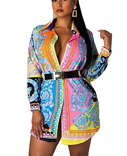 Bluewolfsea Women's Plus Size Floral Print Long Sleeve Button Down Tunic Shirts Dashiki Mini Dress XXX-Large Floral