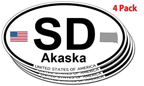 Akaska, South Dakota Oval Sticker - 4 pack