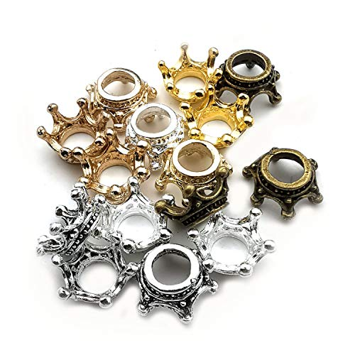 60pcs Mixed Antique Silver Bronze Gold 3D King Crown Loose Spacer Bead,Craft Supplies Crown Charms for Jewelry Making Accessory Findings M264 ()