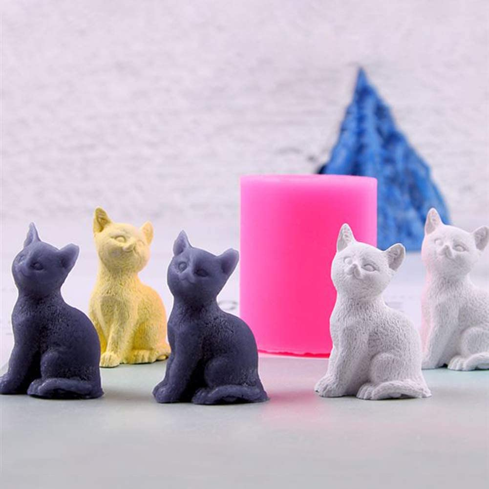Amazon Com 2pcs Mini Size 3d Kitten Candle Molds Small Kitty Cat Silicone Chocolate Candy Fondant Mold For Cake Decorating Resin Epoxy Casting Polymer Clay Mould Beeswax Candle Mold