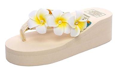 a6b510ad62b8 SHOWHOW Women s Stylish Flip-Flops Flower Thong Slide On Mid Wedge Heel  Platform Sandals for