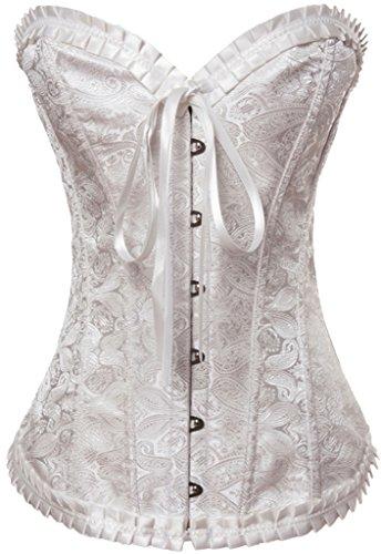 Alivila.Y Fashion Womens Vintage Lace Boned Renaissance Corset 2001-White-L