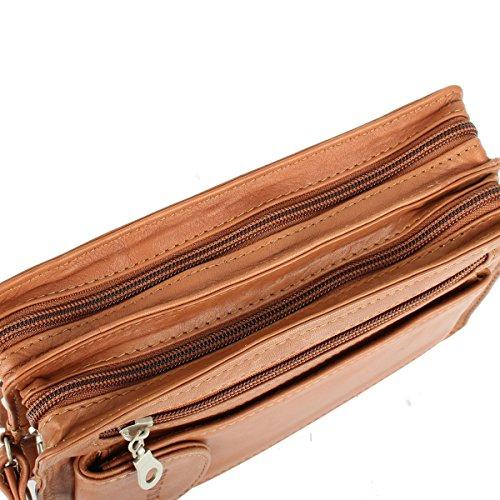 Lederbags - Cartera de mano para hombre Negro marrón