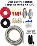 GS Power 150 amp Dual/Auxiliary Battery Charge Isolator Complete Wiring Kit w/4 Gauge OFC Cable (20 FT), Isolation Relay, Ring Terminal, Fuse, Fuse Holder for Off Road Automotive ATU, UTV, RV, RZR