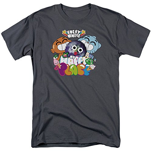 Amazing World of Gumball Happy Place Unisex Adult T Shirt for Men and Women, Medium Charcoal