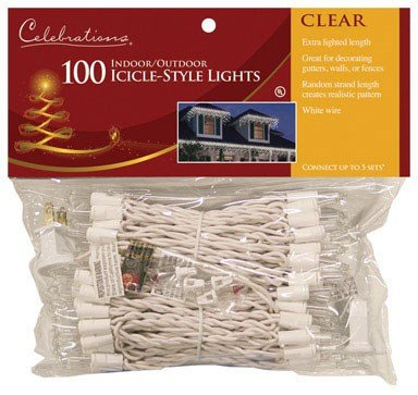 Celebrations Mini Icicle Lights 100 Lights Clear Bulbs 8.5' Fuse Ace No. 9802315 White Cord (Icicle Bulb Clear)