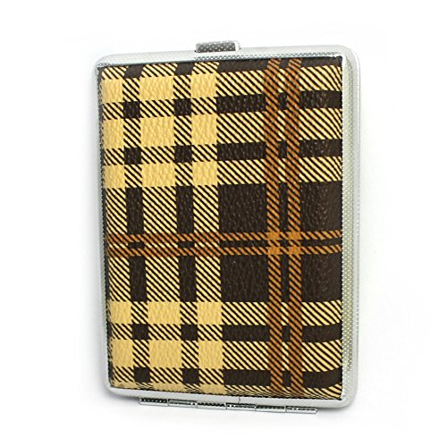 MGStyle 84's 16 Pcs Cigarette Case Box - Metal Alloy - Brown & Silver Tone - Regular Size For Men or Women