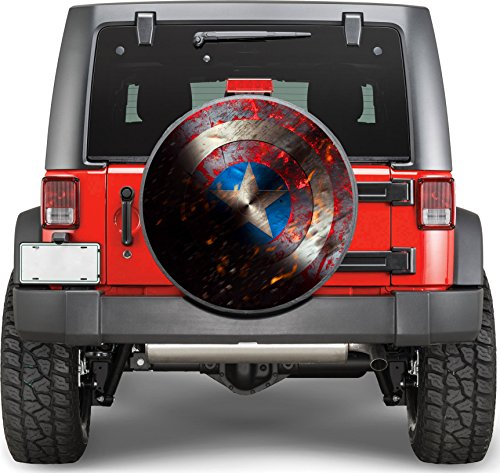 Captain America Sticker Full Color Spare Tire Cover Decal, Sticker Wheel Cover gc2259