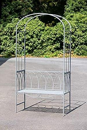 GILDE Metall Rosenbogen mit Sitzbank (B x H x L) 106 x 210 x 0 cm grau, für 2 Personen, max. 280kg