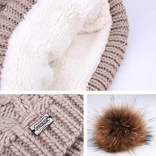 Womens Winter Hat and Scarf Set for Girls Knitted Beanie Hat Pom Pom Hats Infinity Scarf by FURTALK (Image #3)