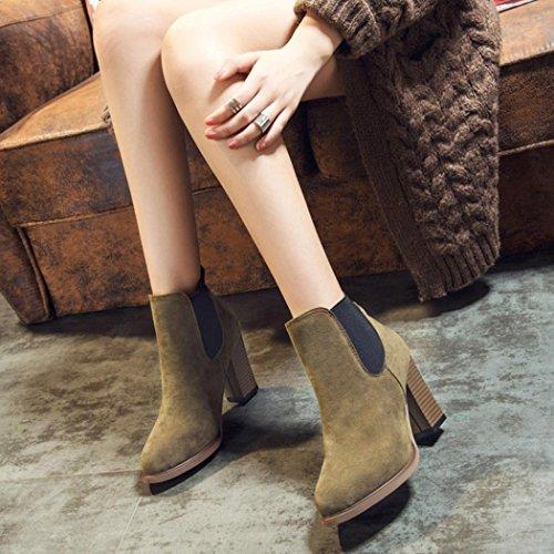 botas Abkle nudo Ouneed señora Moda Verde tobillo talón zapatos ® alto Mujer mujer Botas PwxgzTqx