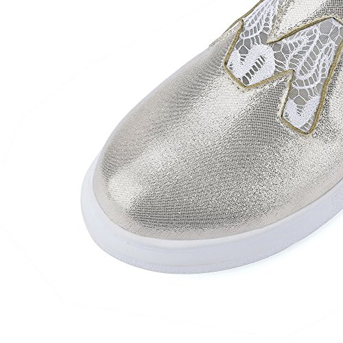 Amoonyfashion Femmes Talons Bas Solides Pu-orteils Pull-on Pompes-chaussures Or