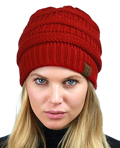 C.C Unisex Chunky Soft Stretch Cable Knit Warm Fuzzy Lined Skully Beanie, Red