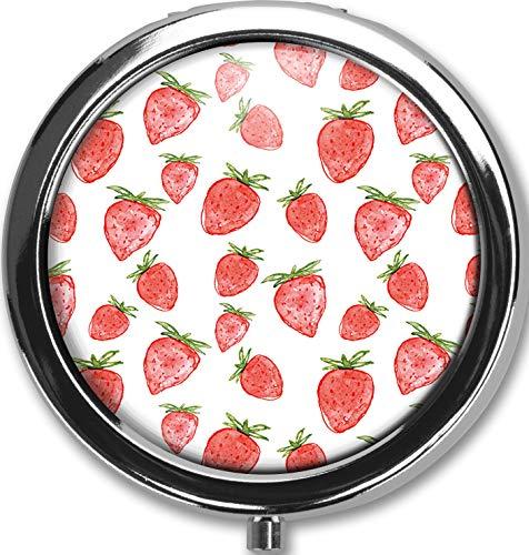 Strawberry Design New Silver Round Pill Box Decorative Metal Medicine Vitamin Organizer Unique Gift