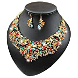 Women Alloy Crystal Necklace and Earring Set Wedding Jewelry Rhinestone Necklace