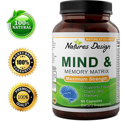 Mind & Memory Enhancement Supplement - Brain Booster Nootropic Pills Improve Focus Concentration Clarity Mental Performance Pure Vitamins Natural Dietary Supplement for Men & Women - By Natures Design
