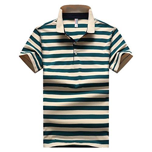 SemiAugust(セミオーガスト)アウター メンズ ポロシャツ 半袖 ボーダー シャツ コットン おしゃれ ゴルフウェア スキッパー ストレッチ カジュアル 通勤 ビジネス ボタンダウン メンズファッション (グリーン XL)