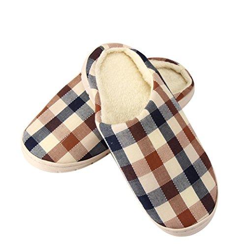 BZLine® Herren Plaid Hausschuhe weibliche Baumwolle Schuhe Paar Schuhe Braun